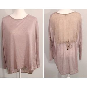 Umgee oatmeal burnout back tie dolman sleeve top